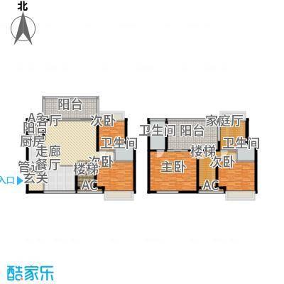 南枫禅墅138.52㎡高层复式C2户型4室2厅3卫