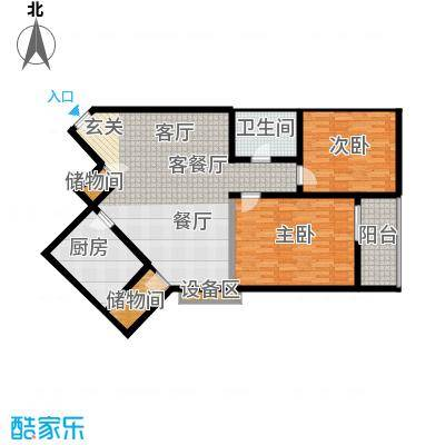 虹光小区110平方米两室两厅一卫户型