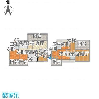 南枫禅墅187.91㎡高层复式D1户型5室3厅3卫