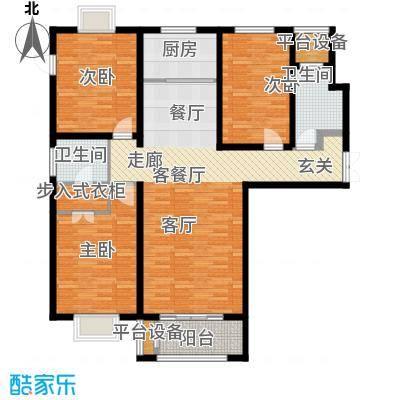 众美凤凰绿都129.13㎡D户型 三室两厅两卫户型