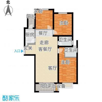 众美凤凰绿都126.00㎡C户型 三室两厅两卫户型