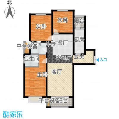 众美凤凰绿都130.52㎡A户型 三室两厅两卫户型