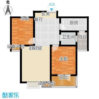 众美凤凰城Ⅱ期88.21㎡1号楼B座(3-02)户型