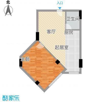 海域中央30.63㎡一室一厅一卫户型