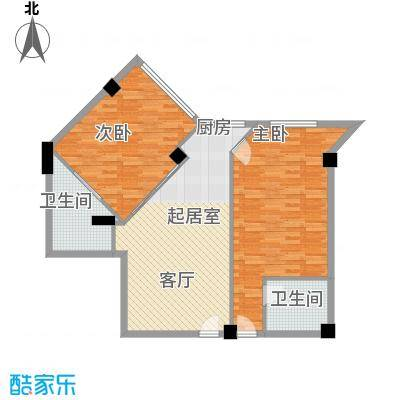 海域中央90.95㎡二室一厅二卫户型