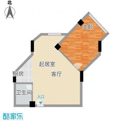 海域中央39.05㎡一室一卫户型