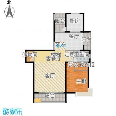 靓都公馆143.47㎡128#(B)下层户型1室1厅1卫1厨