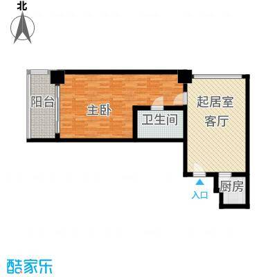 三亚国际公寓75.31㎡一室一厅一卫户型