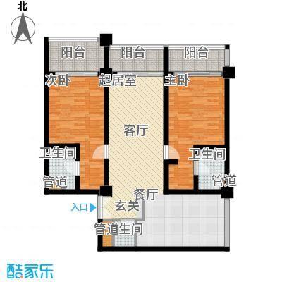 三亚国际公寓106.38㎡两室两厅两卫户型