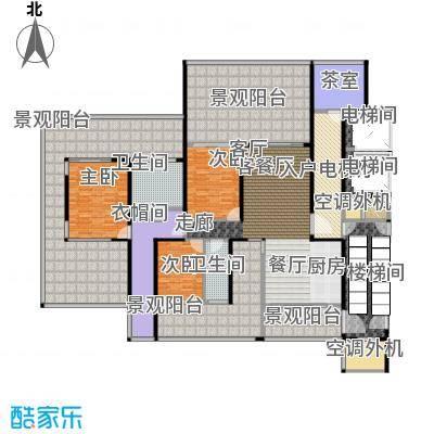 中信・半岛云邸208.00㎡2-A 三房两卫 建筑面积约:208㎡户型3室2厅2卫