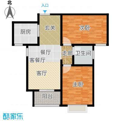 玫瑰湾89.13㎡2号楼b户型2室1厅1卫1厨