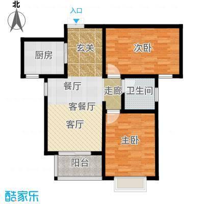 玫瑰湾89.13㎡b户型2室1厅1卫1厨