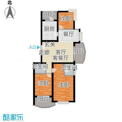 鸿发家园二期房型户型3室1厅2卫1厨