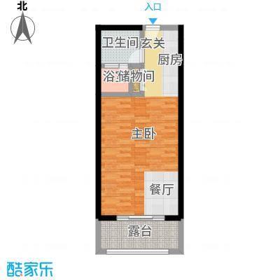 尚海华廷60.00㎡F1户型图1房1厅1卫户型1室1厅