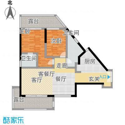 尚海华廷114.38㎡E户型2房2厅2卫户型2室2厅2卫