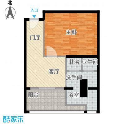 三亚湾红树林度假世界75.00㎡7#木棉酒店D户型 1房1厅1卫户型1室1厅1卫