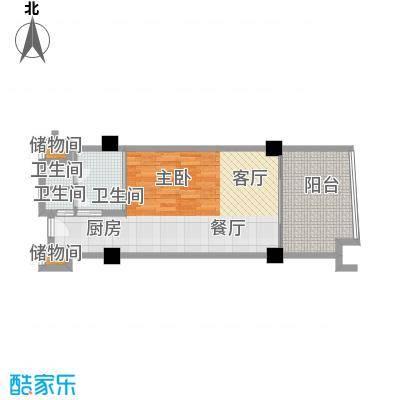 三亚海韵度假酒店66.00㎡一室一厅一卫户型