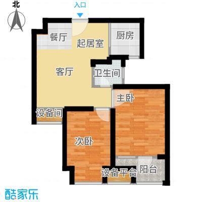 荣盛香缇澜山63.43㎡高层G22-B户型 两室两厅一卫户型2室2厅1卫