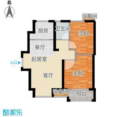 荣盛香缇澜山77.68㎡高层G15-A户型 两室两厅一卫户型2室2厅1卫
