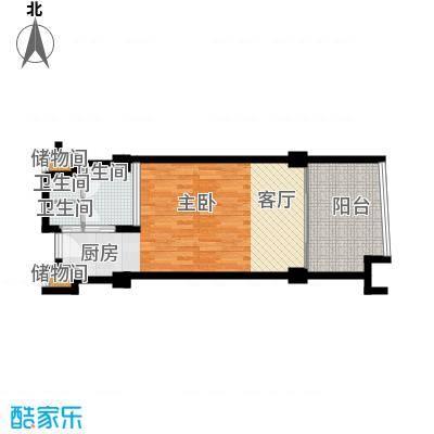三亚海韵度假酒店66.12㎡一室一厅一卫户型