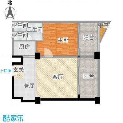 三亚海韵度假酒店57.51㎡一室二厅二卫户型