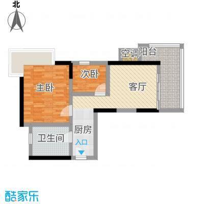海立方度假公馆B户型两房一厅一卫76.67平米户型