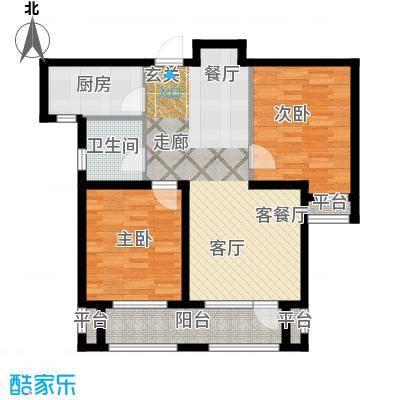 紫林湾两室两厅一厨一卫 总建筑面积约96.08平米户型2室2厅1卫