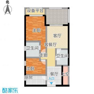尚海华廷104.41㎡B1户型 2室2厅22房2厅2卫户型2室2厅2卫