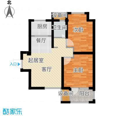 荣盛香缇澜山77.88㎡高层G22-A户型 两室两厅一卫户型2室2厅1卫