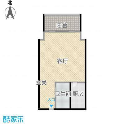 海立方度假公馆D户型一房一厅一卫60平米户型