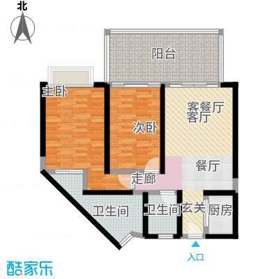 海立方度假公馆C户型两房两厅两卫115平米户型