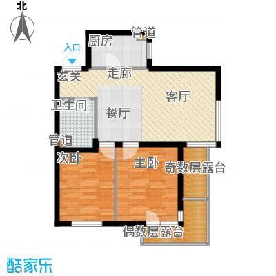 龙腾碧玉湾78.02㎡二室二厅一卫户型