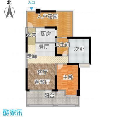 名著司南89.00㎡H户型两室两厅一卫实得面积116平米户型2室2厅1卫