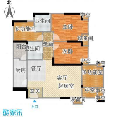 美洲花园E区2期89.39㎡户型2室2厅2卫