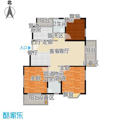 公园养生豪庭126.6平方米三房户型