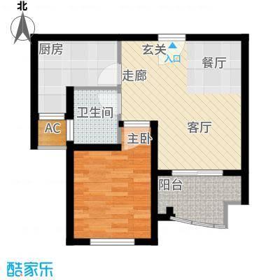 建业森林半岛户型1室1卫1厨