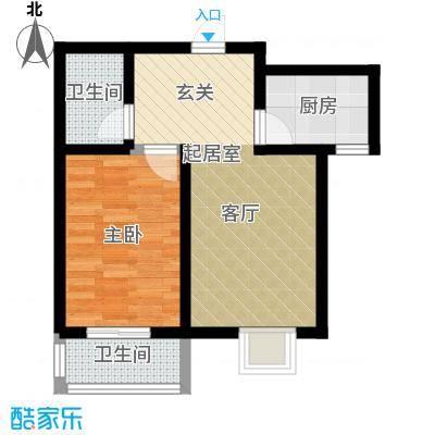 紫苑二期59.96㎡F户型 一室一厅一卫户型1室1厅1卫