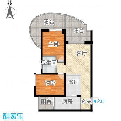 龙湖世纪峰景95.00㎡C型户型2室2厅1卫