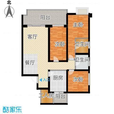 龙湖世纪峰景128.00㎡D型户型3室2厅2卫