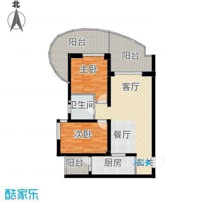 龙湖世纪峰景104.24㎡驭・境C型单卫户型2室2厅1卫
