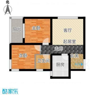 西城国际70.20㎡2-1 两室两厅一卫户型2室2厅1卫