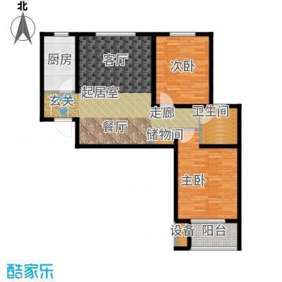 西城国际90.70㎡1-3 两室两厅一卫户型2室2厅1卫