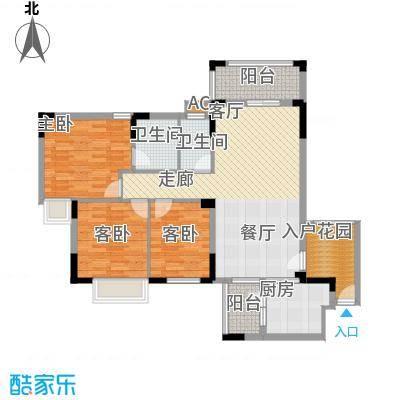 皇冠花园五期一梯四户01户型图户型3室2厅2卫