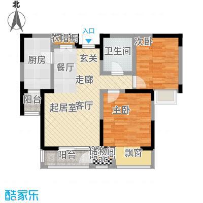 融科金月湾85.00㎡B二室二厅一卫户型
