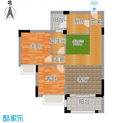 皇冠花园五期一梯四户户型图户型2室2厅1卫
