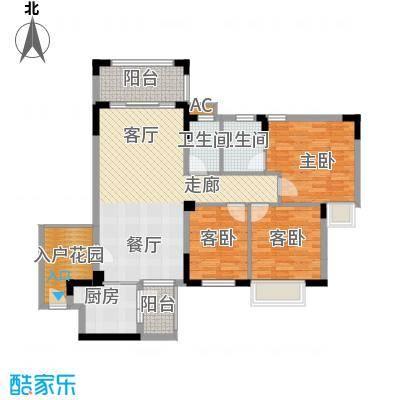 皇冠花园五期一梯四户户型图户型3室2厅2卫