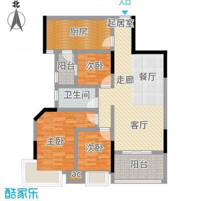 丽景名筑98.00㎡21-22栋02、03单位98平米三房两厅户型3室2厅1卫