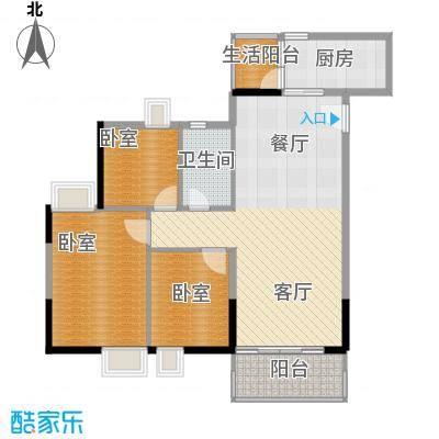 天马河壹号91.26㎡A3栋三层至十八层03户型3室2厅1卫