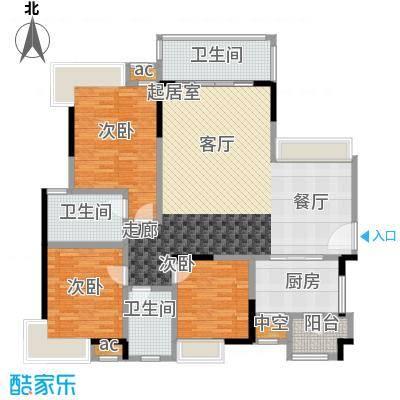 丽景名筑121.37㎡11座01、02房121平米三房两厅两卫户型3室2厅2卫