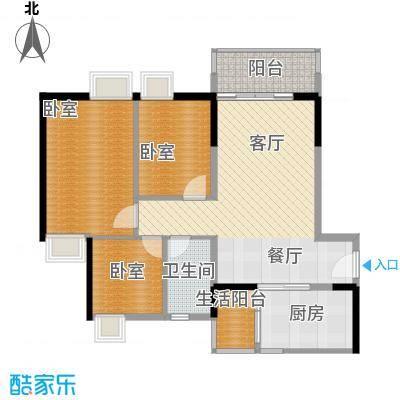 天马河壹号90.63㎡A3栋三层至十八层04户型3室2厅1卫
